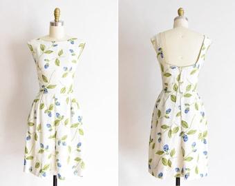 1950s De La Rosa dress /vintage 1950s rose daydress/ Pat Premo linen floral dress