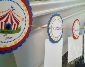 carnival theme birthday * circus themed party * circus monthly photo banner * circus first birthday * carnival first birthday *circus party