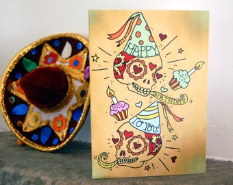 Sugar skull fathers day card day of the dad sugar skull happy birthday card day of the dead mexican tattoo m4hsunfo