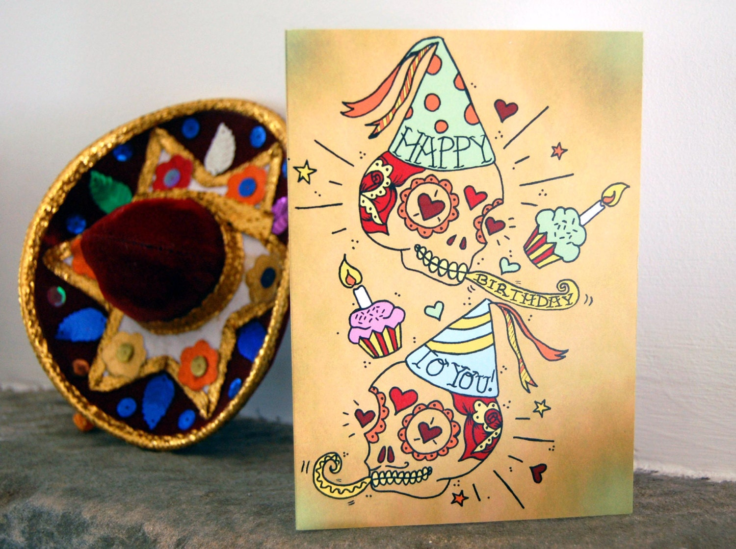 Sugar Skull Happy Birthday Card Day of the Dead Mexican