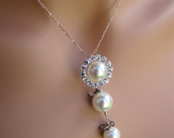 Pearl pendant bridal necklace, South sea shell pearls with rhinestone long layer chain necklacce - Pearl