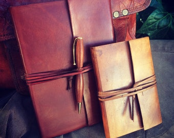 Wraparound Leather Journal - Same day shipping