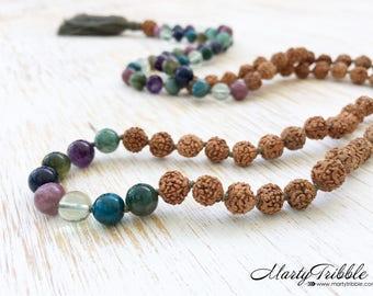 Mala Beads Necklace, 108 Mala Beads, Rudraksha Mala Necklace, Gemstone Mala: Jade Lepidolite Apatite Amethyst Fluorite Dumortierite Jasper