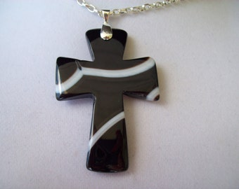 """Unusual Black and White Agate Cross pendant with chain - 2"""" long"""