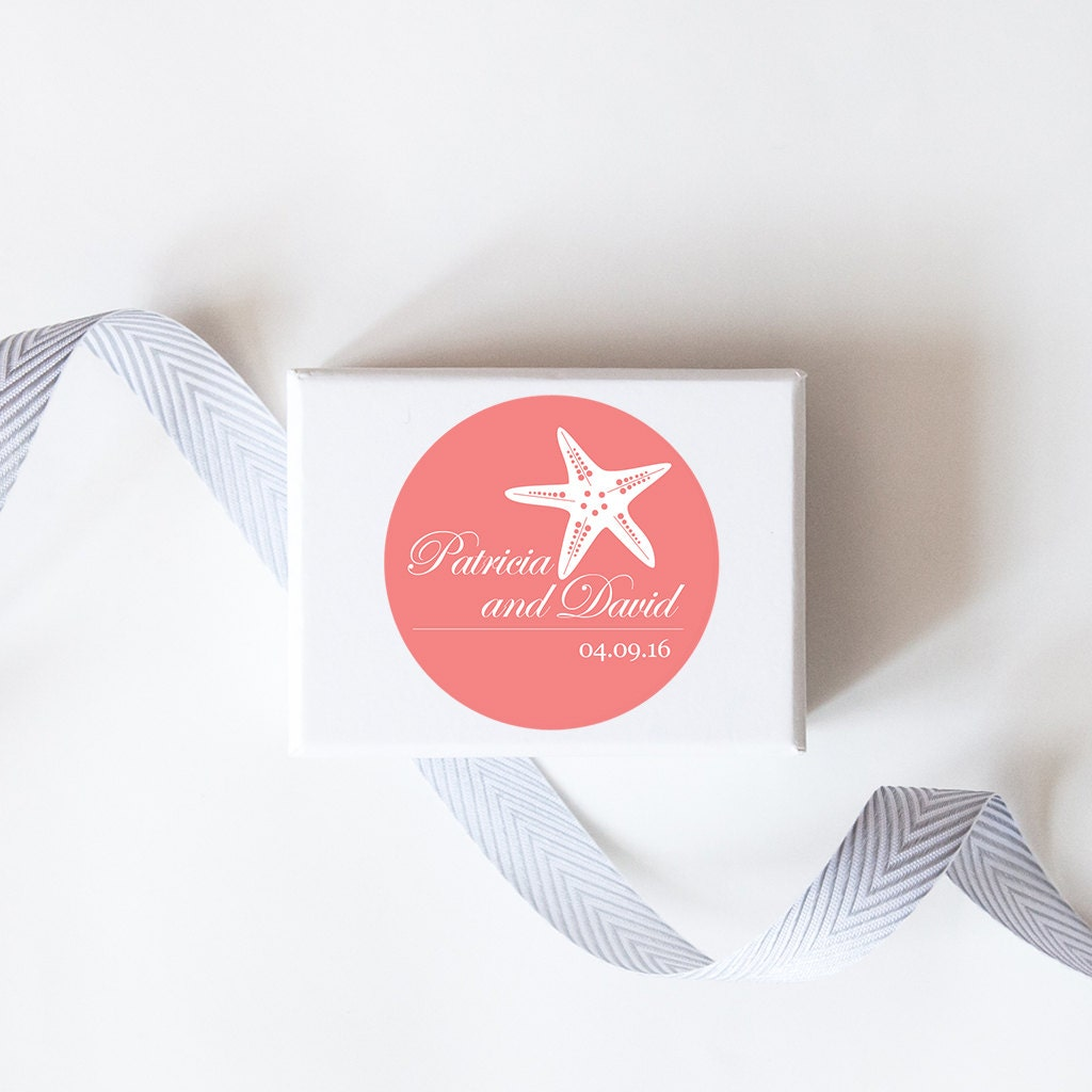 Beachy Starfish Wedding Favor Stickers Custom Labels //