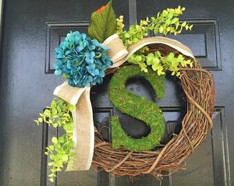 Moss monogram wreath with blue hydrangea, personalized wreath,moss monogram,summer wreath.monogram wreath