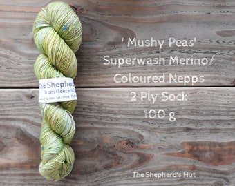 Superwash Merino/ Coloured Nepps 85/15   2 Ply Sock yarn 100 g 'Mushy Peas'