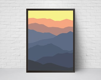 Abstract Wall Art, Mountain Print, Mid Century Modern Art Print, Home Decor Wall Art, Minimalist Poster, Living Room Decor, Lilac Orange