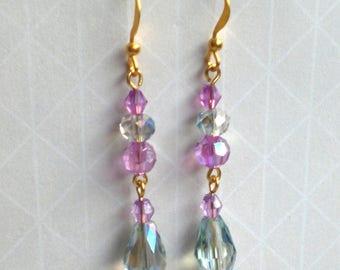 Long blue purple crystal drop earrings, Blue vintage style prom earrings, Blue purple Victorian style earrings, Blue crystal bridal earrings