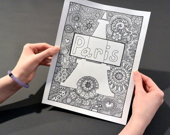 PARIS Coloring Page, Coloring Book Pages, Printable Adult Coloring, Hand Drawn, Doodle, Art Therapy, Instant Download Print