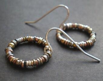Boho Small Hoop Earrings - Rustic Mixed Metal Circle Jewelry - Textured Hoops - Little Everyday Earrings - dorijenn - Birthday Gift Teen