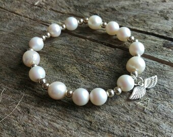 Pearls,sterling silver bracelet, silver 925, angel, Swarovski pearls, bride, wedding jewellery, love, frienship