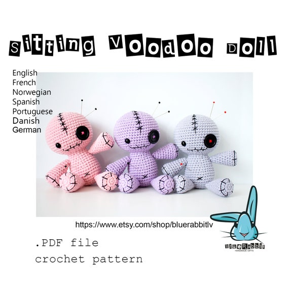 Sitting Voodoo Doll Pincushion Amigurumi Crochet Pattern