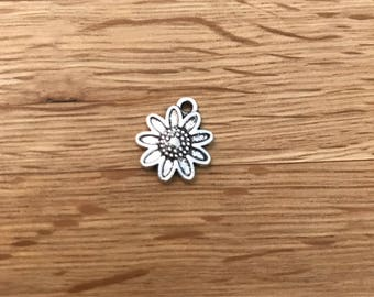 Antique Silver Tone Tibetan Silver Sunflower Pendant Charms 13mm x 16mm F21