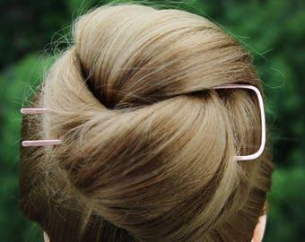 Square Hair Fork, Hair Pin, Metal Hair Pick, Hair Bun Holder, Stick Cheveux, Chignon Pin Holder, Minimalist Hair Accessories, Women Gift