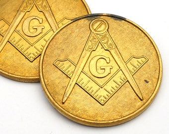 2 pcs vintage brass Freemason stampings, symbol medallion flat round 29mm