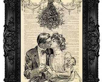 Mistletoe Kiss - ORIGINAL ARTWORK - Dictionary Art Print Vintage Antique Upcycled Book Page no. 255