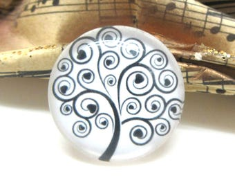1 cabochon 25 mm glass tree of life 2-25 mm black and white