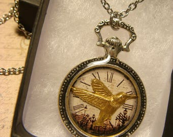 Hummingbird Over Clock Pocket Watch Style Pendant Necklace (2454)