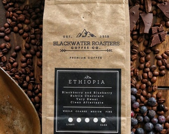 Ethiopia Single Origin Coffee//Blueberry//Blackberry//Chocolate//Sweet//Flavor//Roasted//Gift//Housewarming//Boyfriend//Girlfriend//Mom//Dad