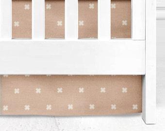 Blush Cross Crib Skirt, baby bedding, nursery, baby girl, pink nursery