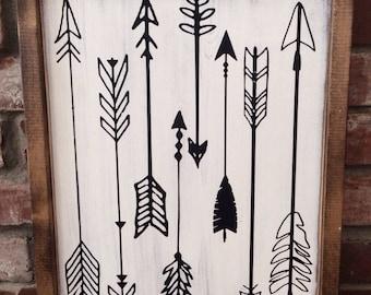 Arrow sign. Painted wood arrows. Photo gallery wall decor. Arrow decor