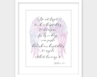 Hebrews 13:2 Entertaining Angels Bible Verse Wall Art Print Printable Art, Scripture Sign, Hospitality Christian Wall Art Instant Download