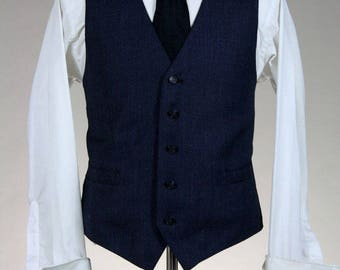 ON SALE Vintage 2 Piece Navy 100% Wool Pant Vest Combo 38 x 30