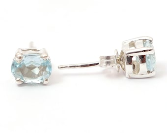 Blue topaz 92.5 sterling silver earring
