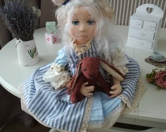 Art Doll, textile doll, interior doll, rag doll girl, soft handmade doll, Provence