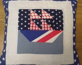 Handmade sailing ship cushion cover