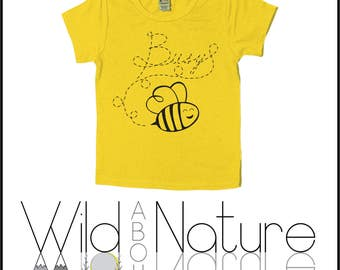 Busy Bee, buzz buzz, spring, summer, kids clothing, nature, nature lover, baby clothes, screen printed tees for kids, sunshine, explore