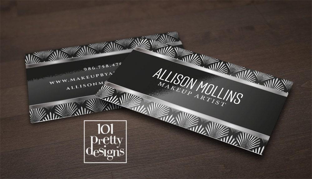 Golden business card template art deco business card design