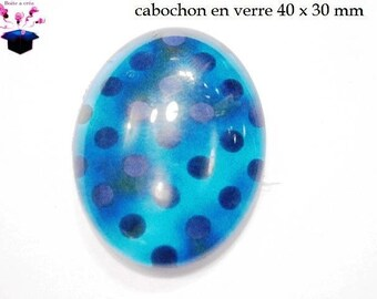 1 cabochon glass 40x30mm turquoise polka dots theme