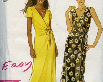 Wrap dress pattern, short sleeve or sleeveless, New Look 6861, easy, Misses sizes 8 to 18