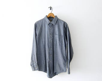 50% of Proceeds go to Planned Parenthood! Vintage Viyella Shirt in Slate Gray, 60's, Merino Wool & Cotton Twill Blend, Men's Medium/Large