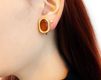 Vintage Sarah Coventry 80s Smoky Amber Glass Holiday Classic Clip-on Earrings