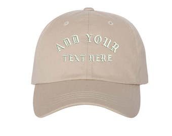 Custom Dad Hat Embroidered Dad Hat,YOUR TEXT HERE Kanye Custom Hat Personalized Baseball Cap,Choose Your Text,Custom Stitching, Stone
