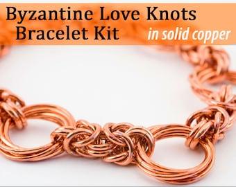 Byzantine Love Knots Bracelet Chainmaille Kit in Copper