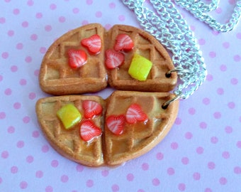 Best Friends Waffle Necklace - Miniature Food Jewelry - Inedible Jewelry, Kawaii Jewelry, Breakfast Jewelry, Kid's Jewelry, Waffle Jewelry