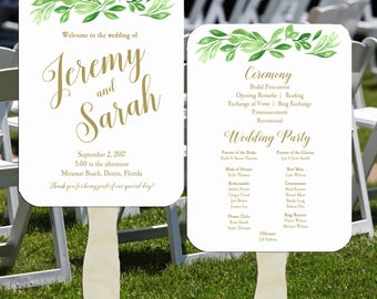 Wedding Program Fans Printable or Printed/Assembled with FREE Shipping - Greenery and Gold Collection