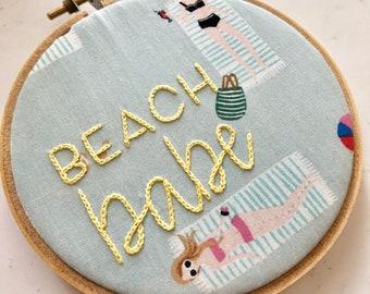 Beach Babe - Embroidery Hoop
