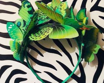 Butterfly Fascinator Bright Green Headband Hairpiece