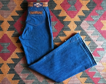 Vintage 70s High Waisted Denim Flares Jeans / 70s Denim Jeans / 70s Bellbottom Flares