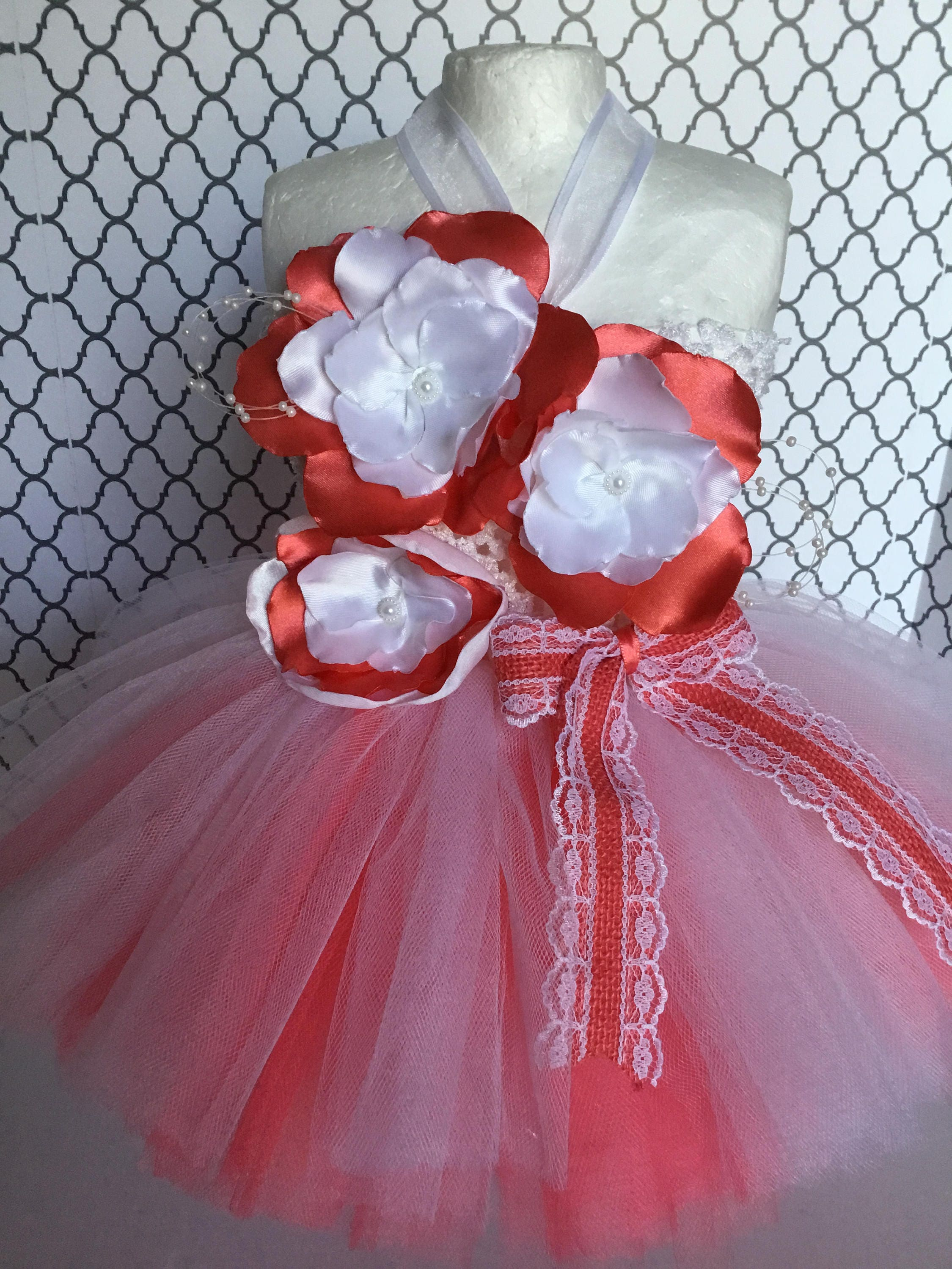 Free Shipping Coral & White Flower Tutu Dress Newborn Baby Tutu Dress