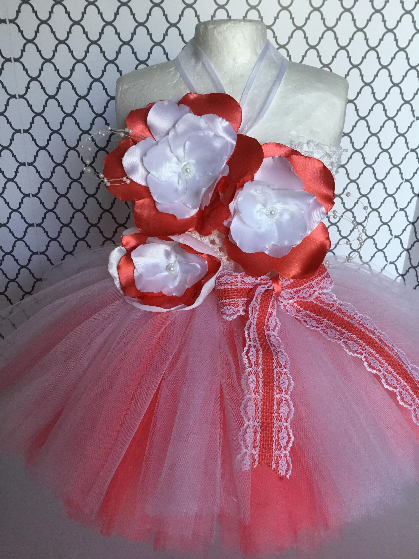 Free Shipping Coral & White Flower Tutu Dress Newborn Baby Tutu Dress