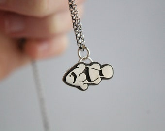 Clown fish necklace, tiny sterling silver hand cut pendant with heart