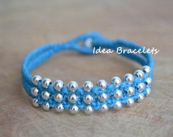 Aqua Blue Pastel Sweet Silver Double Layers Bracelet