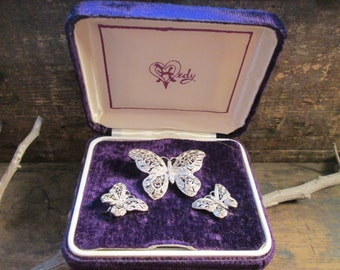 Rare Vintage Hedy Pave Rhinestone Butterfly and Clip Earring Set