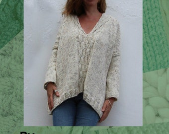 Big Sloppy V Neck Sweater Hand Knitting Pattern